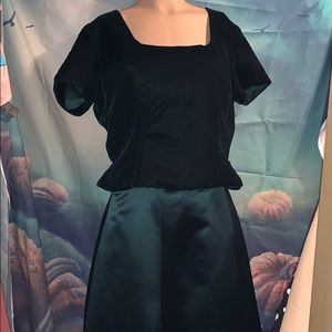 Forrest green satin skirt and velvet top med/large